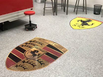 Concrete floor logos