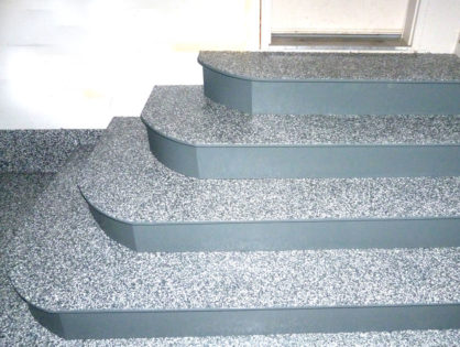 Unique steps finished with an epoxy flake coating