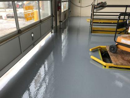 Drive through oil change shop floor coating