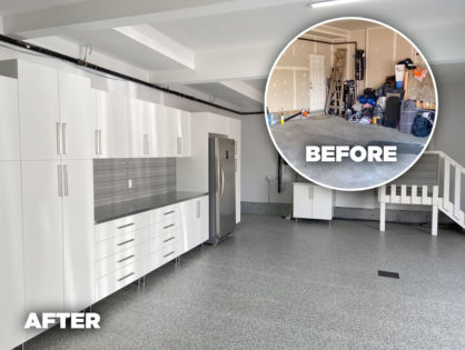 Garage cabinets and flooring before and after