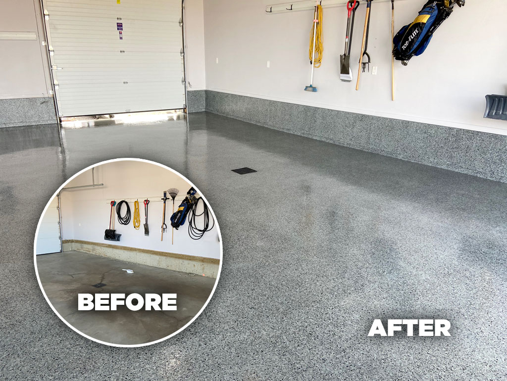 Epoxy floor coating before and after