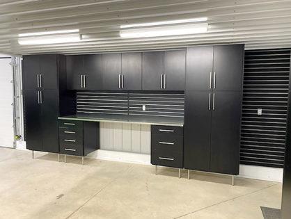 Black on black Garage Cabinets